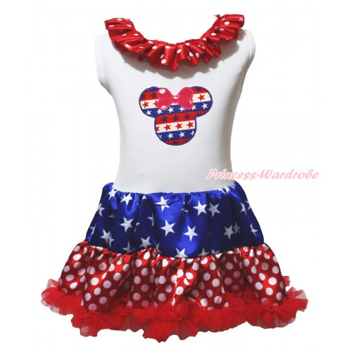 American's Birthday White Tank Top Minnie Dots Lacing Patriotic American Stars & Red White Blue Striped Star Minnie Print & Minnie Dots ONE-PIECE Petti Dress LP243