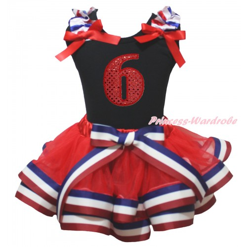 American's Birthday Black Tank Top Red White Blue Striped Ruffles Red Bows & 6th Sparkle Red Birthday Number Print & Red White Blue Striped Trimmed Pettiskirt MG2124