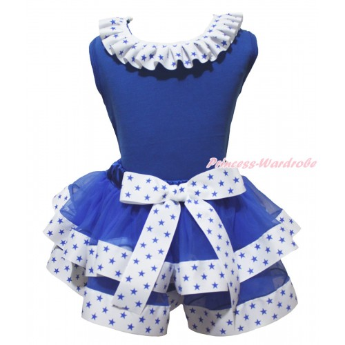 American's Birthday Royal Blue Pettitop Patriotic American Star Lacing & White Royal Blue Star Trimmed Pettiskirt MG2125