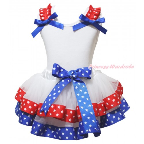American's Birthday White Pettitop Red White Star Ruffles Royal Blue Bow & Royal Blue Red White Star Trimmed Pettiskirt MG2141