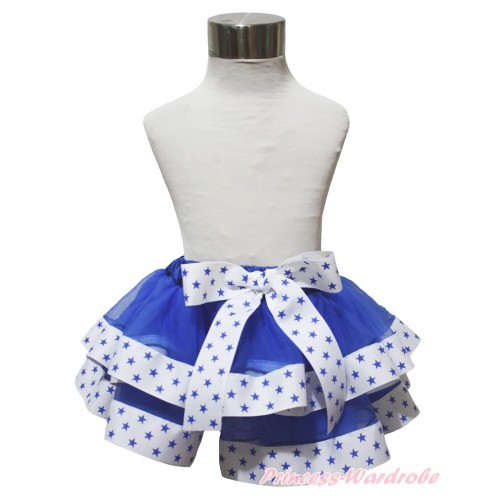 American's Birthday Royal Blue White Star Trimmed Newborn Baby Pettiskirt & Bow N292