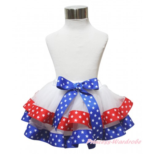 American's Birthday Red Royal Blue White Star Trimmed Newborn Baby Pettiskirt & Bow N295