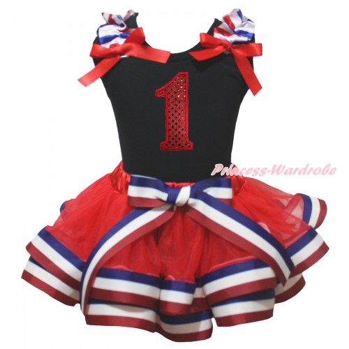 Black Baby Pettitop Red White Blue Striped Ruffles Red Bow & 1st Sparkle Red Birthday Number Print & Red White Blue Striped Trimmed Baby Pettiskirt NG2027