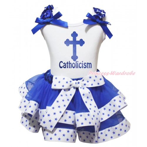 White Baby Pettitop Royal Blue White Star Ruffles Royal Blue Bow & Blue Cross Catholicism Painting & White Royal Blue Star Trimmed Baby Pettiskirt NG2040