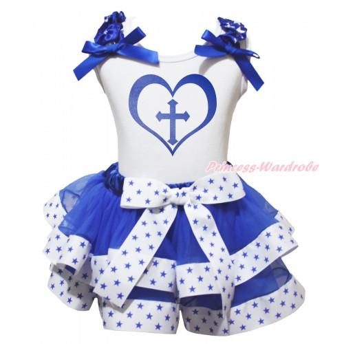 White Baby Pettitop Royal Blue White Star Ruffles Royal Blue Bow & Cross Heart Painting & White Royal Blue Star Trimmed Baby Pettiskirt NG2044
