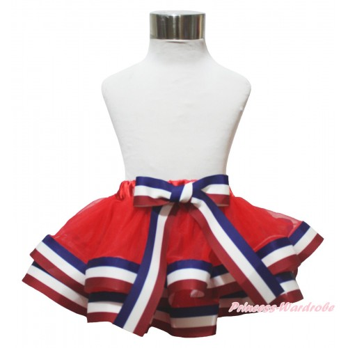 American's Birthday Red White Royal Blue Striped Trimmed Full Pettiskirt & Bow P245