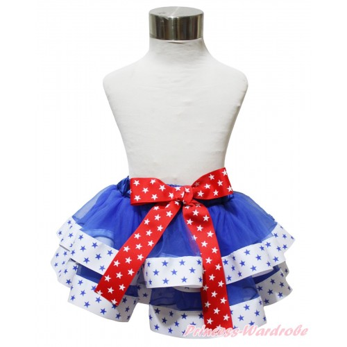 American's Birthday Royal Blue White Star Trimmed Full Pettiskirt & Bow P247