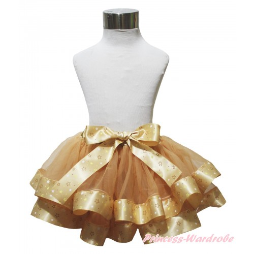 Goldenrod Star Trimmed Full Pettiskirt & Bow P248