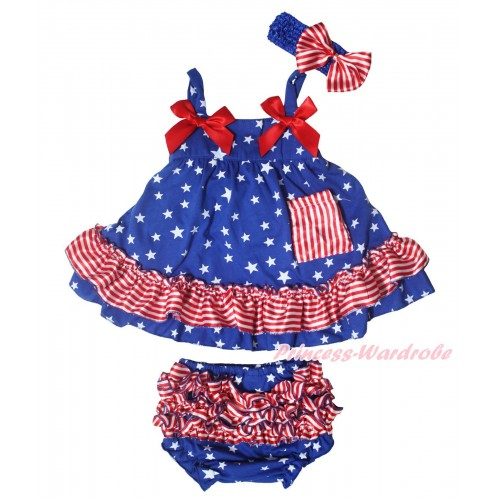 American's Birthday Royal Blue White Star Red White Stripe Swing Top Hot Red Bow & Panties Bloomers & Royal Blue Headband Red White Stripe Satin Bow SP39