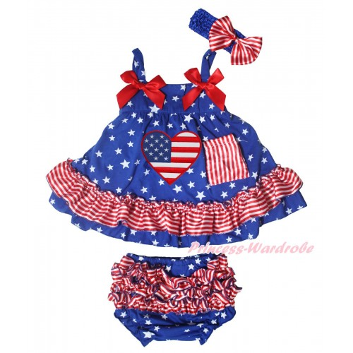 American's Birthday Patriotic American Stars Red White Stripe Swing Top Red Bow & American Heart Print matching Panties Bloomers SP40