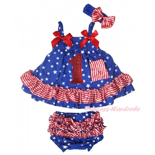 American's Birthday Royal Blue White Star Red White Stripe Swing Top Hot Red Bow & 1st Sparkle Red Birthday Number Print & Panties Bloomers & Royal Blue Headband Red White Stripe Satin Bow SP41
