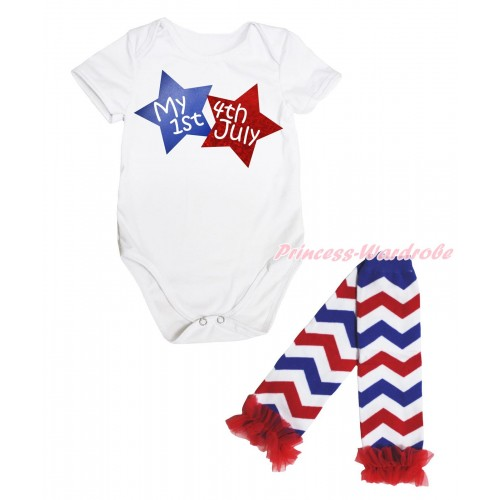 American's Birthday White Baby Jumpsuit & My 1st American 4th Of July Twin Star Painting & Warmer Set TH659