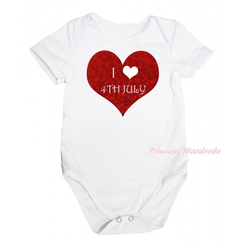 American's Birthday White Baby Jumpsuit & I Love 4th July Painting TH663