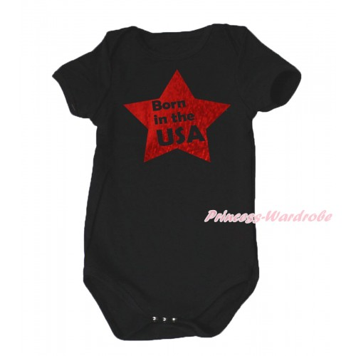 American's Birthday Black Baby Jumpsuit & Born In The USA Painting TH664