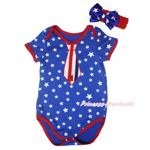 American's Birthday Royal Blue White Star Red Piping Baby Jumpsuit & 1st Birthday Number Red White Blue Striped Tie Print Headband TH668