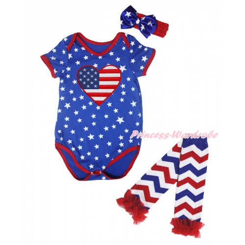 American's Birthday Royal Blue White Star Red Piping Baby Jumpsuit & Patriotic American Heart & Headband & Warmer Set TH670