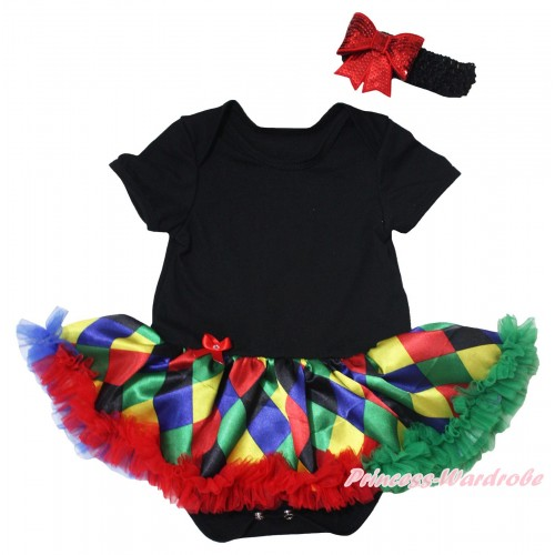 Black Baby Bodysuit Rainbow Diamond Pettiskirt JS5493