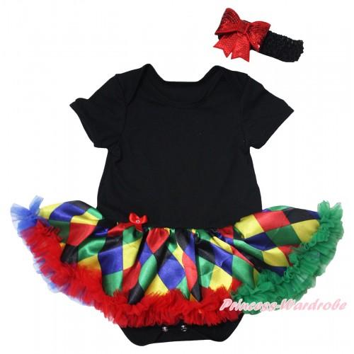 Black Baby Bodysuit Rainbow Diamond Pettiskirt JS5493