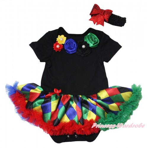 Black Baby Bodysuit Rainbow Pearl Flower Rosettes Lacing Rainbow Diamond Pettiskirt JS5494