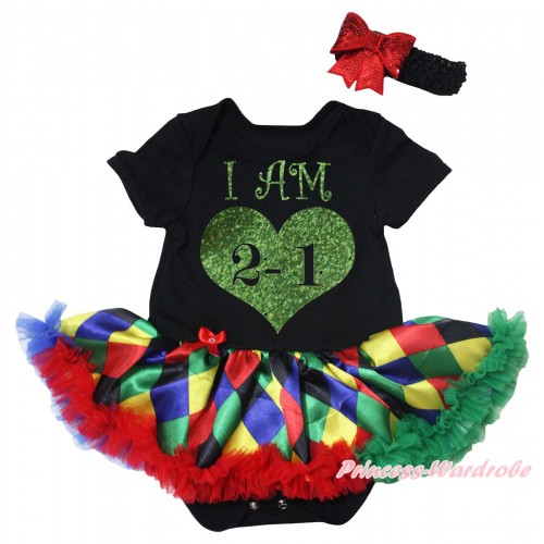 Black Baby Bodysuit Rainbow Diamond Pettiskirt & I AM 2-1 Painting JS5496