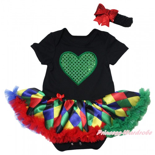 Black Baby Bodysuit Rainbow Diamond Pettiskirt & Sparkle Kelly Green Heart Print JS5497