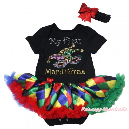 Mardi Gras Black Baby Bodysuit Rainbow Diamond Pettiskirt & Sparkle Rhinestone My First Mardi Gras Clown Mask Print JS5500