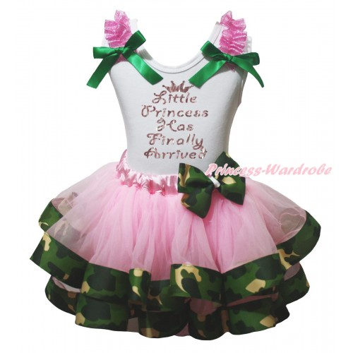 White Pettitop Hot Pink Ruffles Kelly Green Bow & Sparkle Little Princess Has Finally Arrived Painting & Light Pink Camouflage Trimmed Pettiskirt MG2282