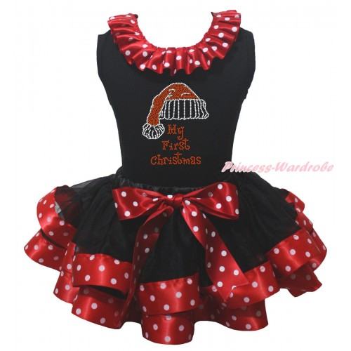 Black Pettitop Minnie Dots Lacing & Sparkle Rhinestone My First Christmas Print & Black Minnie Dots Trimmed Pettiskirt MG2303