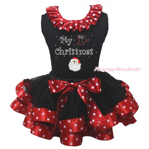 Black Pettitop Minnie Dots Lacing & Sparkle Rhinestone My 1st Christmas Print & Christmas Santa Print & Black Minnie Dots Trimmed Pettiskirt MG2304
