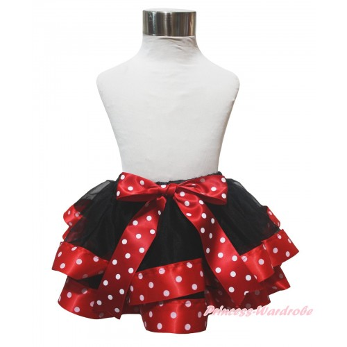 Black Minnie Dots Trimmed Newborn Baby Pettiskirt & Bow N301