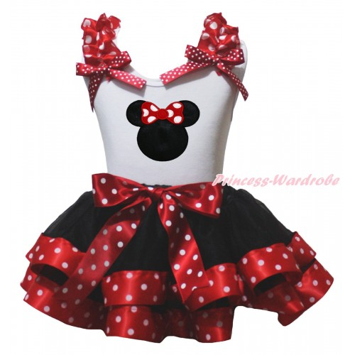 White Baby Pettitop Minnie Dots Ruffles Bow & Minnie Print & Black Minnie Dots Trimmed Baby Pettiskirt NG2153