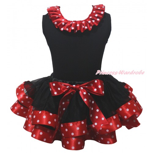 Black Baby Pettitop Minnie Dots Lacing & Black Minnie Dots Trimmed Baby Pettiskirt NG2157