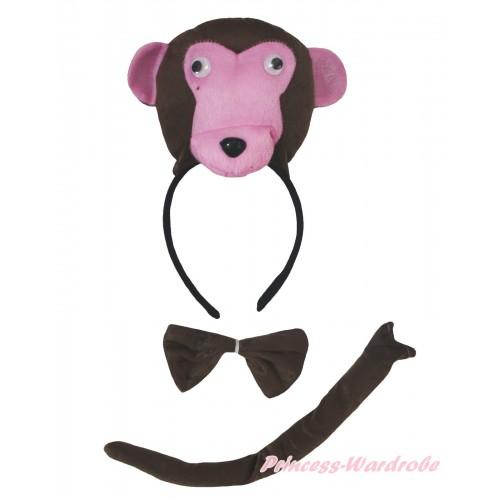 Dark Brown Monkey 3 Piece Set in Headband, Tie, Tail PC155