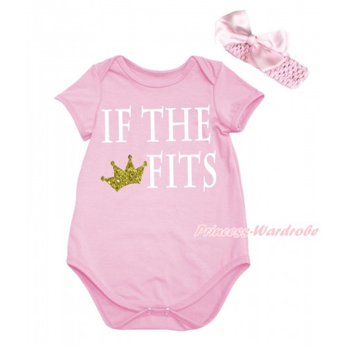 Light Pink Baby Jumpsuit & IF THE CROWN FITS Painting & Headband TH724