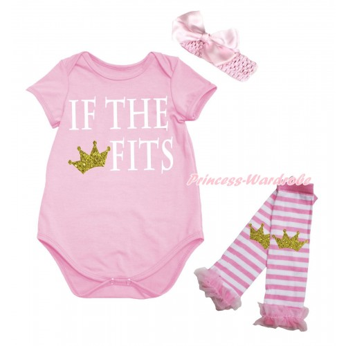 Light Pink Baby Jumpsuit & IF THE CROWN FITS Print & Headband & Leg Warmer Set TH725