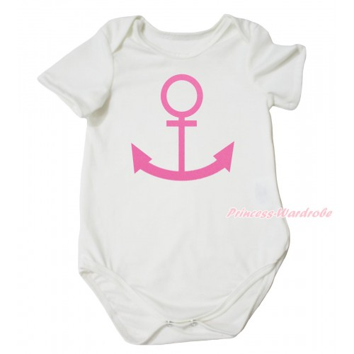 Cream White Baby Jumpsuit & Pink Anchor Painting TH729