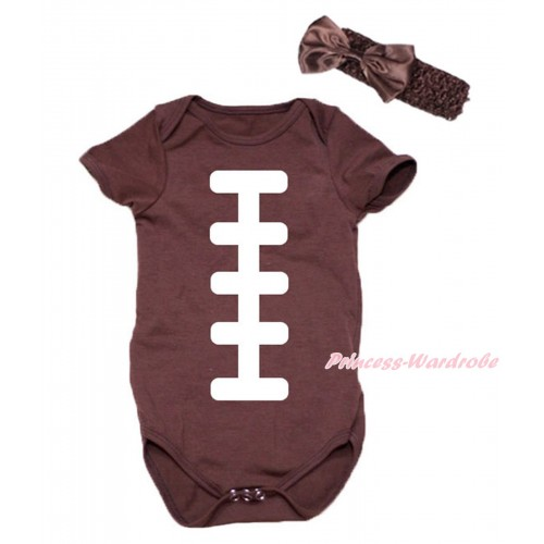 Brown Baby Jumpsuit & White Rugby Ball Print & Headband TH731