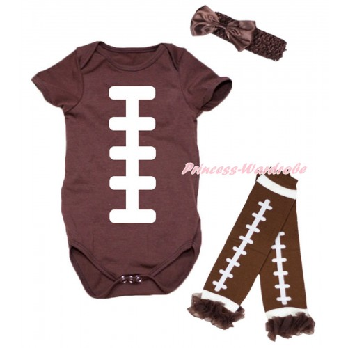 Brown Baby Jumpsuit & White Rugby Ball Print & Headband & Warmer Set TH732