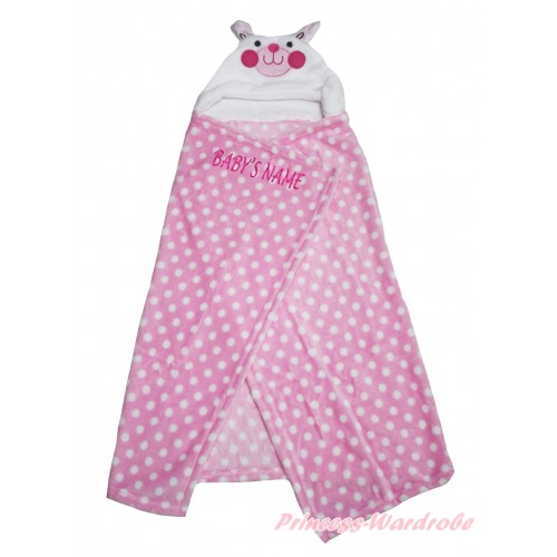 Personalize Custom Rabbit Pink White Dots Baby's Name Swaddling Wrap Blanket BI53