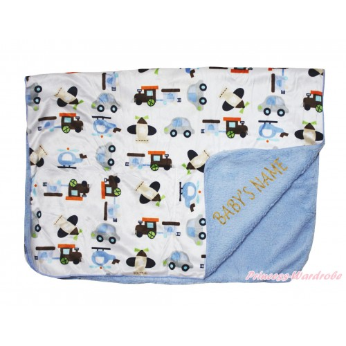 Personalize Custom Blue Vehicles Baby's Name Swaddling Wrap Blanket BI55