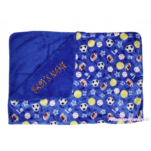 Personalize Custom Royal Blue Balls Baby's Name Swaddling Wrap Blanket BI57
