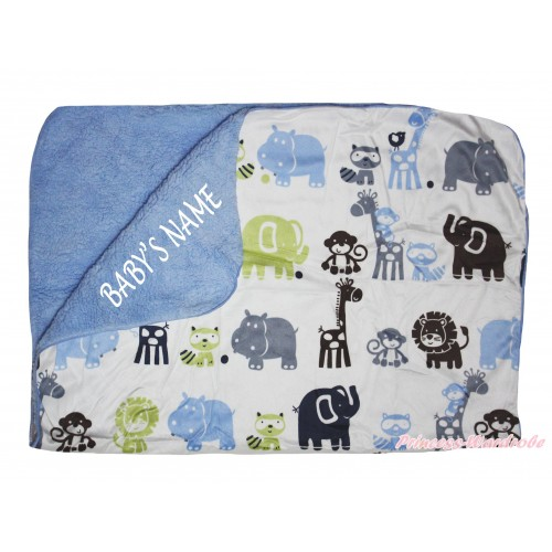 Personalize Custom Blue Animal Baby's Name Swaddling Wrap Blanket BI59