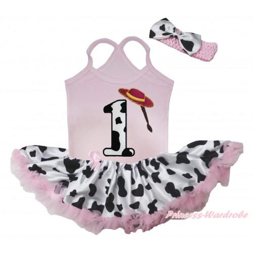 Light Pink Baby Halter Jumpsuit & 1st Cowgirl Hat Braid Milk Cow Birthday Number Print & Light Pink Milk Cow Pettiskirt JS5506