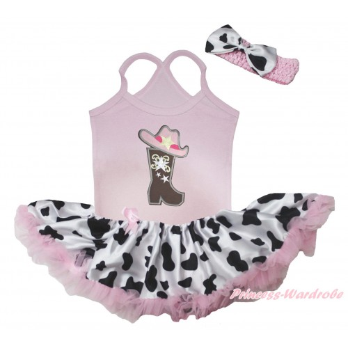 Light Pink Baby Halter Jumpsuit & Cowgirl Hat Boot Print & Light Pink Milk Cow Pettiskirt JS5507