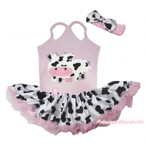 Light Pink Baby Halter Jumpsuit & Milk Cow Print & Light Pink Milk Cow Pettiskirt JS5508