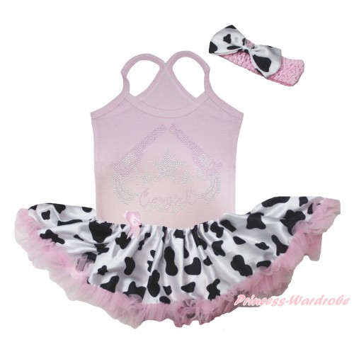 Light Pink Baby Halter Jumpsuit & Sparkle Rhinestone Cowgirl Print & Light Pink Milk Cow Pettiskirt JS5509