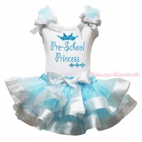 White Pettitop Light Blue Ruffles Sparkle Silver Grey Bow & Sparkle Pre-School Princess Painting & Light Bue Sparkle Silver Grey Trimmed Pettiskirt MG2307