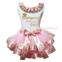 White Tank Top Pink Rose Fusion Lacing & Sparkle Kindergarten Princess Grace Painting & Light Pink Rose Fusion Trimmed Pettiskirt MG2322