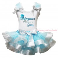 White Baby Pettitop Light Blue Ruffles Sparkle Silver Grey Bows & Sparkle Kindergarten Princess Grace Painting & Light Blue Sparkle Silver Grey Trimmed Newborn Pettiskirt NG2163