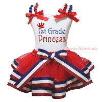 White Baby Pettitop Red White Blue Striped Ruffles Red Bow & Sparkle 1st Grade Princess Painting & Red White Blue Striped Trimmed Baby Pettiskirt NG2171